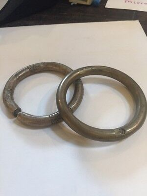 2 Antique African Tribal Bronze Brass Metal Bracelet Arm Band Currency Africa