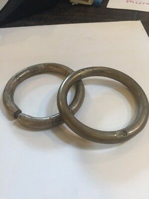 2 Bracelets Antique African Tribal Bronze Brass Metal Arm Band Currency