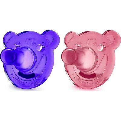 Philips Avent Soothie Bear Shaped Pacifiers, 0-3 Months 2-Pack Pink/Purple
