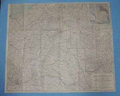 Map of the WESTERN THEATRE Of WAR ~ May 1918 National Geographic map V/G