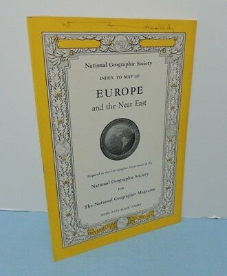INDEX booklet to June 1943 Map of EUROPE + Near East ~ National Geographic