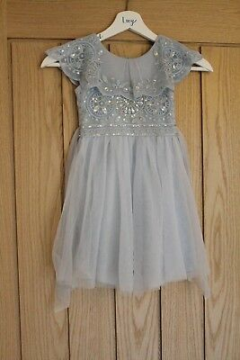 17bd72f9512 Evangeline Monsoon Beaded Flower Girl Dress - Blue with Sequins - Size 3  years