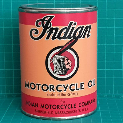 Vintage Replica Indian Motor Oil Tin Can Reproduction Tin Cans Display Props