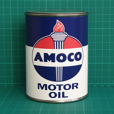 Vintage Replica Amoco Motor Oil Tin Can Reproduction Tin Cans Display Props