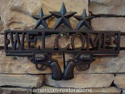 Cast Iron Antique RUSTIC Style WELCOME Plaque Sign GARDEN Ranch Wall Decor New