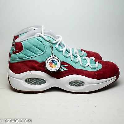 super popular d4393 17eaa Reebok SneakersnStuff SNS Question Mid A Shoe About Nothing Aqua Red Suede