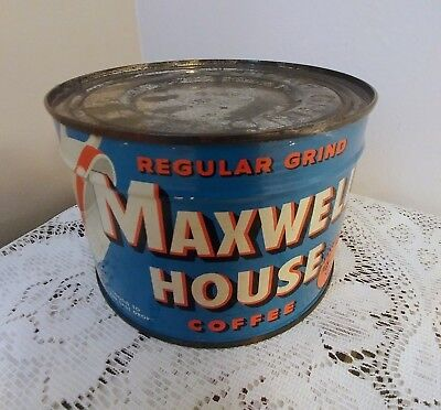 Vtg Maxwell House Coffee Blue Tin Can 1 Lb Pound Full Unopened With Key Nos