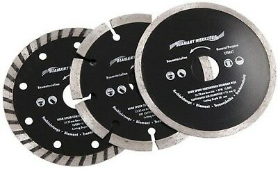 3pc Angle Grinder Diamond Tile Cutting Disc Blade 115mm Stone, Brick, Ceramics