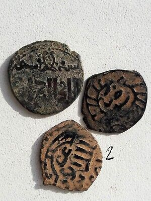 Lot Of 3 Ancient Islamic Bronze Coins.