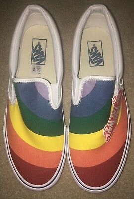 214c45e9a20 Vans Classic Slip On Rainbow White Men s 9.5 Women s 11 Skate Shoes New  Unisex