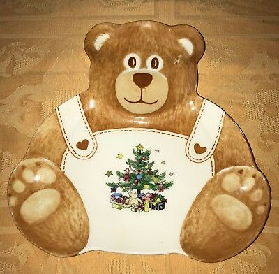 Nikko Happy Holidays Teddy Bear Cookie Plate Serving Tray Christmas NWT new