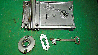 VINTAGE R & E RIM LOCK w/KEY & KEEPER: CLEANED RECONDITIONED - NICE  (10665-6)