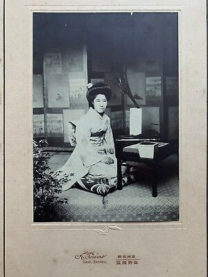 SALE 1910s Japan Old Photo Portrait of Japanese Young Woman w Flower Arrangement