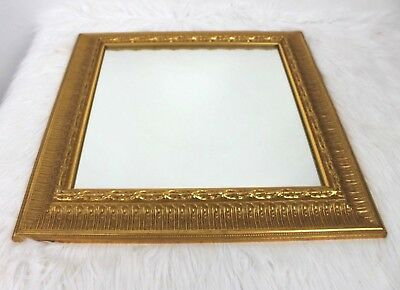 Gold Ornate Frame Mirror Wall Hanging Decorative 18.5 inch Heavy Regency
