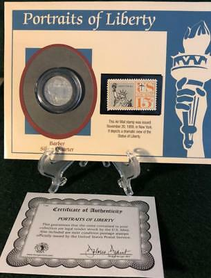 1915 D Barber Silver Quarter Dollar with 1959 Statue of Liberty Stamp and COA
