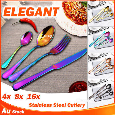 8 16 24 32 60 Piece Stainless Steel Cutlery Set Black Rose Gold Knife Fork Spoon