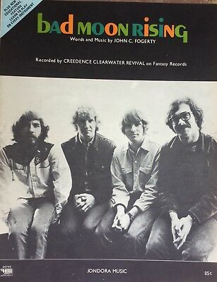 Vintage Creedence Clearwater Revival Bad Moon Rising  Fogerty 1969 Sheet Music