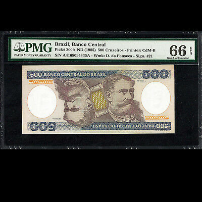 Banco Central do Brazil 500 Cruzeiros ND 1985 PMG 66 GEM UNC EPQ Pick-200b