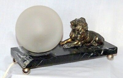 Rare French Art deco lamp with gilded bronze/spelter Lion statue. Beautiful!