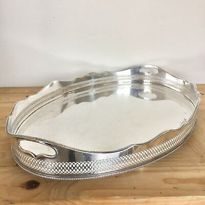 Superb Large Antique Silver Plated Butlers Gallery Serving Tray 24x16 Inches