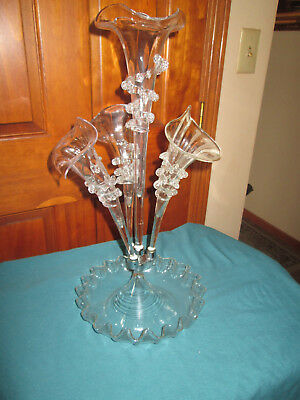 Vintage Victorian Blown Glass Epergne Clear Trumpets Vases