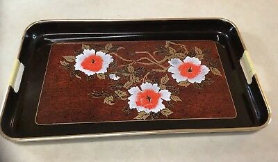 "Vintage Asian Gold  on Black Lacquer Serving Tray Floral Japan 18 3/4"" X 11 1/2"""