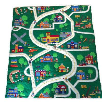 Childs Handmade Our Town Map Play Blanket Quiet Time Activity Blanket Quilt