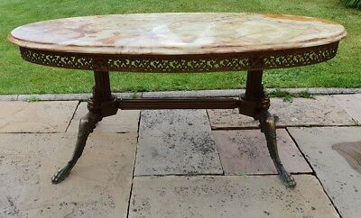 antique marble stone top coffee table