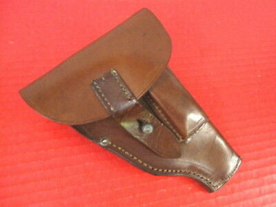 WWI Era German Military Brown Leather Holster - Mauser 1914 Pistol - Nice Cond.