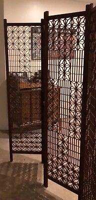 Antique Japanese 4 Panel Wood Folding Screen Room Divider FREE SHIPPING