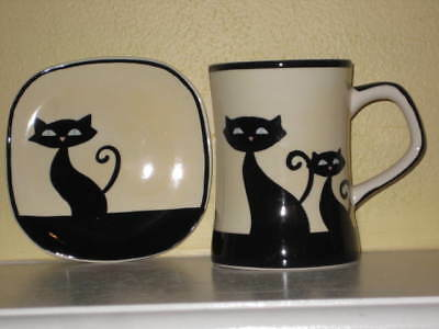 HUES N BREWS CAT Cup and Coaster/Plate SET