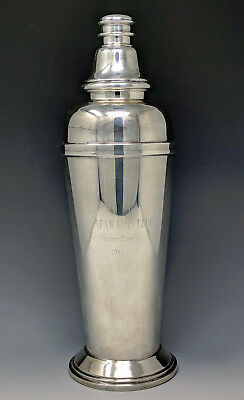 Art Deco JC Boardman Silverplate Skyscraper Cocktail Shaker APAWAMIS CLUB Rye NY