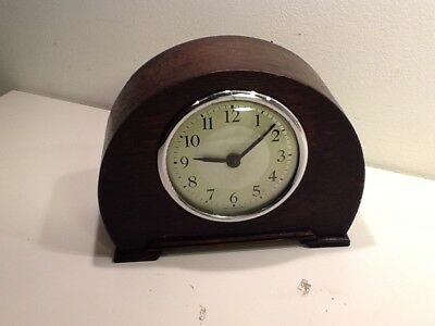 Vintage Art Deco Arched Oak Cased Mantel Clock,half silvered dial,Glass face