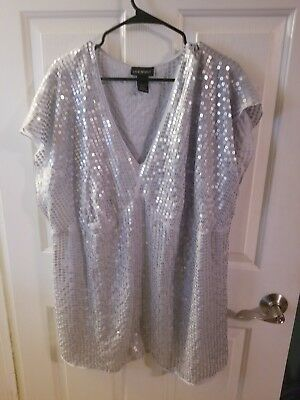Lane Bryant Sequin Top Womens Size 22/24 Silver Polyester  V Neck