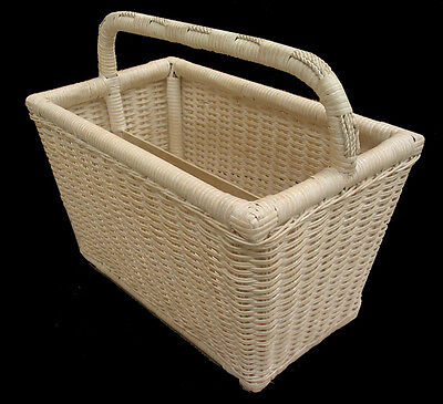 Natural White Wash Cane/Wicker/Rattan Magazine Rack With Carry Handle