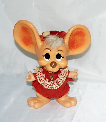 Vintage Big Ear Christmas Mouse 1970 Roy Des of Florida Plastic Bank 11""