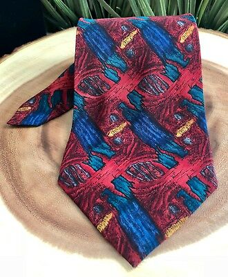"J. GARCIA Banyan Tree Collection 8th Men's Red Silk Neck Tie,Made in USA,4"" Wide"