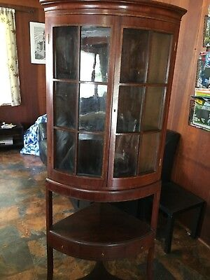 Mahogany antique curved corner cupboard w/ inlaid pattern, American -1790's
