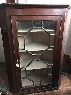 Hepplewhite antique mahogany corner cupboard, England -1780's , with key