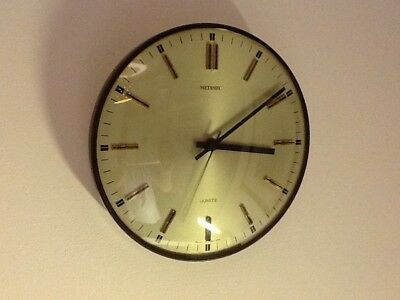 Vintage METAMEC Kitchen/Wall Clock,Silvered Dial Glass Face,Seconds hand,c1970's