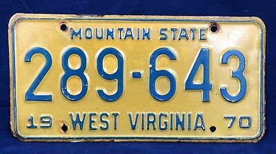 1970 West Virginia Mountain State License Plate 289-643