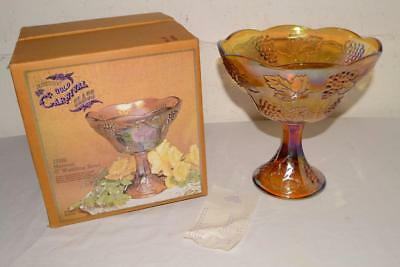"""MINT IN BOX Vtg INDIANA Carnival Glass HARVEST Irridescent Gold 8"""" WEDDING BOWL"""