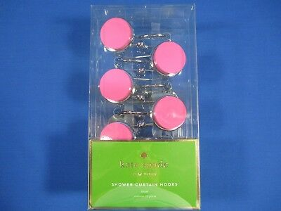 Kate Spade Inset Shower Bath Curtain Hooks Rings Pink Chrome Retro Dots Set New