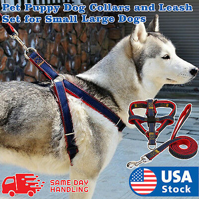 Adjustable Strong Denim Nylon Dog Pet Puppy Harness Lead leash Traction rope
