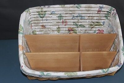 Longaberger Desktop basket Combo with l Liner Protector And Wood Divider