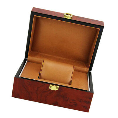Wine Red Wooden Watch Box Display Case Jewelry Storage Organizer Single Slot
