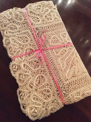 """Vintage Ecru CLUNY LACE Tablecloth 72"""" x 84"""", Hand Made, Excellent Condition"""