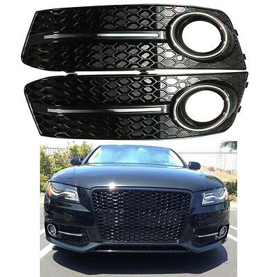 Pair Glossy Standard Style Fog Light Cover Grille Grill For Audi A4 B8 2009-2012