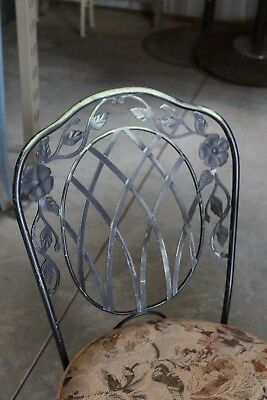Hard To Find WOODARD TABLE & CHAIRS heavy iron metal & glass - ODD PATTERN