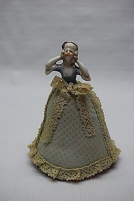 Antique Porcelain Half Doll Pin Cushion Lady